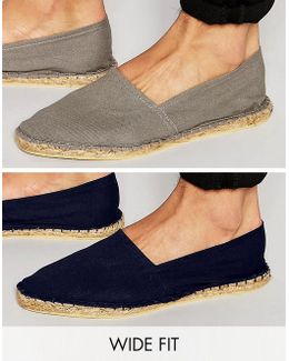 Wide Fit Espadrilles In Gray And Navy 2 Pack Save