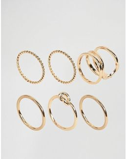 Pack Of 6 Twist & Knot Rings