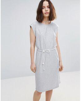Striped Skater Dress With Belt