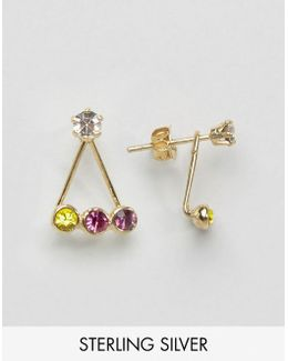 Gold Plated Sterling Silver Rainbow Swing Earrings