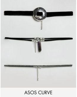 Pack Of 3 Festival & Shard Choker Necklaces
