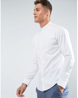 Regular Fit Grandad Shirt In Stripe
