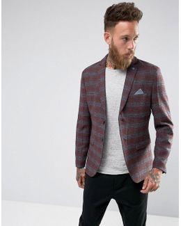 Slim Wool Mix Blazer In Check