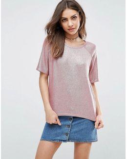 Metallic T-shirt In Knit