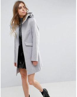 Hooded Slim Coat With Zip Front