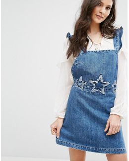 Denim Overall Dress With Stars Embroidery
