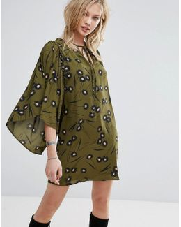 Flute Sleeve Printed Smock Dress