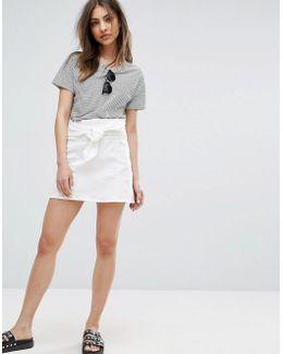 Tie Front Denim Skirt
