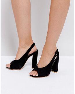 Peep Toe Sling Back Block Heeled Sandal