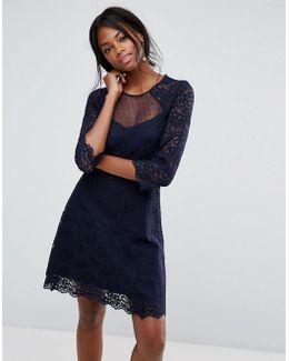 Lace Sleeve Skater Dress