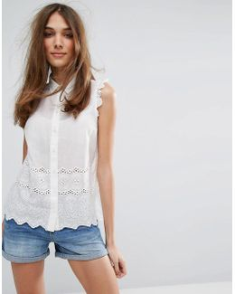 Broderie Trim Cotton Shirt