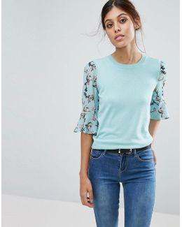Floral Flute Sleeve Sweater