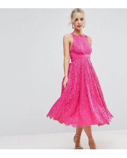 Salon Lace Halter Pinny Midi Prom Dress