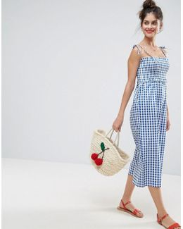 Jumpsuit With Shirred Bodice In Gingham Print