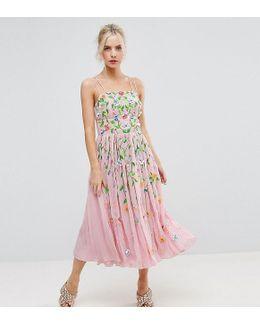 Salon Floral Embellished Crinkle Midi Dress