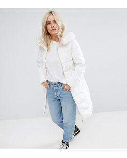 Longline Puffer Coat With Faux Fur Trim Hood