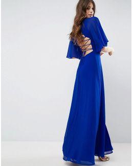 Strappy Back Flutter Sleeve Maxi Dress