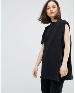 Asymmetric Sleeve T-shirt With Ruche Underarm Detail
