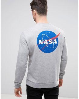 Sweatshirt With Nasa Print In Gray Marl