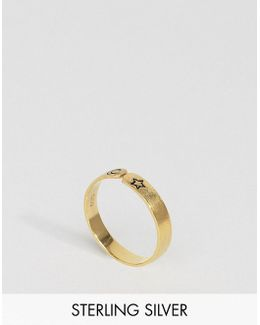 Gold Plated Sterling Silver Open Moon & Star Ring