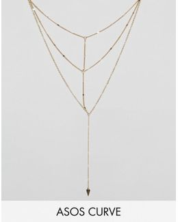 Multirow Triangle Chain Necklace