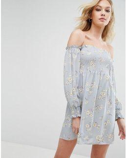 Bardot Bell Sleeve Floral Print Dress
