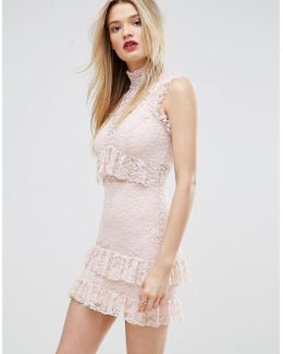 High Neck Ruffle And Lace Bodycon Dress