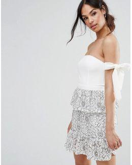 Tie Shoulder Lace Peplum Dress