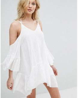 Cheesecloth Cold Shoulder Dress