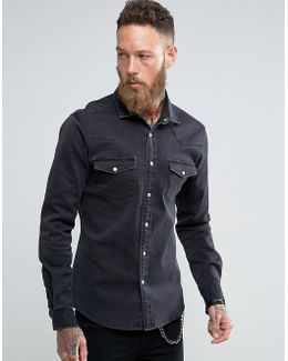 Regular Fit Denim Western Shirt In Black Overdye