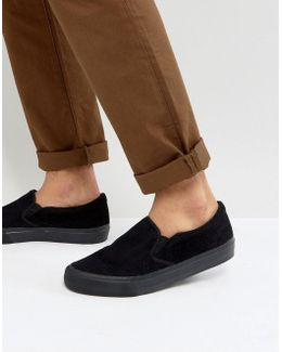 Slip On Sneakers In Black Cord With Black Sole