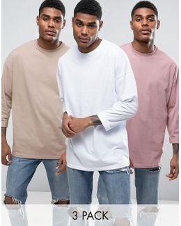 Oversized Long Sleeve T-shirt With Roll Sleeve 3 Pack In Beige/white/pink Save