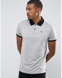 Athleisure Polo Shirt With Contrast Collar In Grey