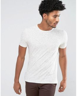 Man T-shirt With Speckles In Off White