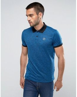Athleisure Polo In Blue Marl With Contrast Collar