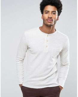 Man Long Sleeve Top With Buttons In Off White