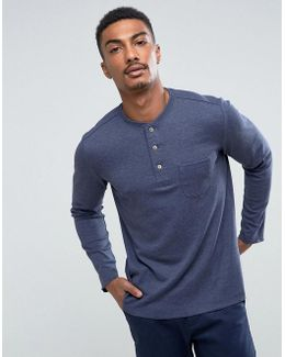 Man Long Sleeve Top With Buttons In Navy