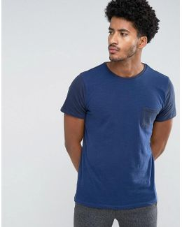 Man T-shirt With Contrast Sleeves In Navy