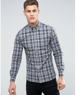 Man Regular Fit Check Shirt In Gray And Black