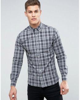 Man Regular Fit Check Shirt In Grey And Black