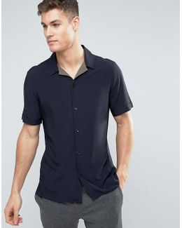 Man Short Sleeve Regular Fit Shirt In Navy