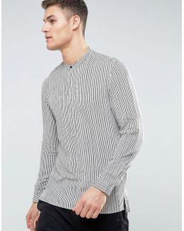 Man Regular Fit Striped Shirt In Grey