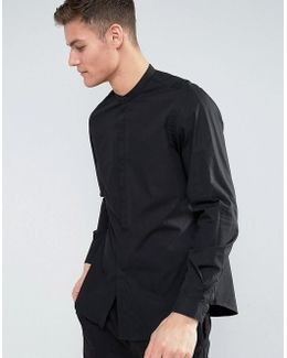 Man Regular Fit Shirt With Grandad Collar In Black