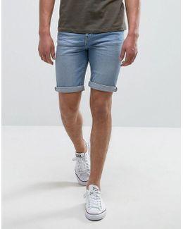Man Denim Shorts In Light Wash Blue