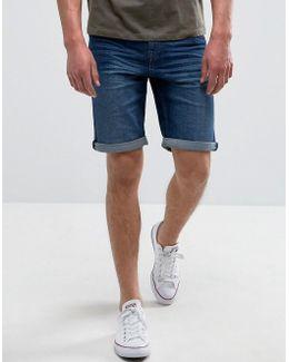 Man Denim Shorts In Mid Wash Blue