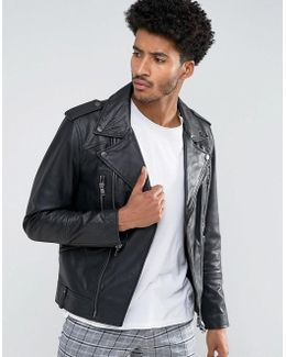 Man Leather Biker Jacket With Collar In Black