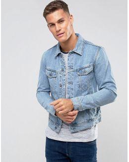 Man Denim Jacket In Mid Wash Blue