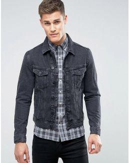 Man Denim Jacket In Washed Black