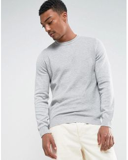 Man Textured Sweater In Light Gray