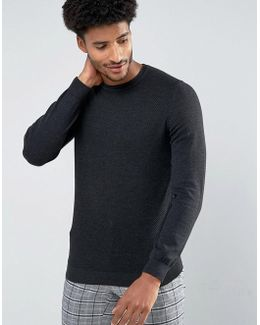 Man Textured Sweater In Dark Gray